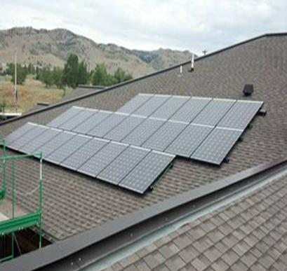 Solar panels line an office roof