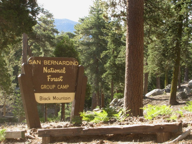 This is the sign for the Black Mountain Group Campground on the San Jacinto Ranger District