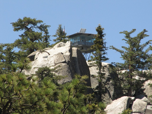 This photo shows the Black Mountain Fire Lookout Tower on the San Jacinto Ranger District
