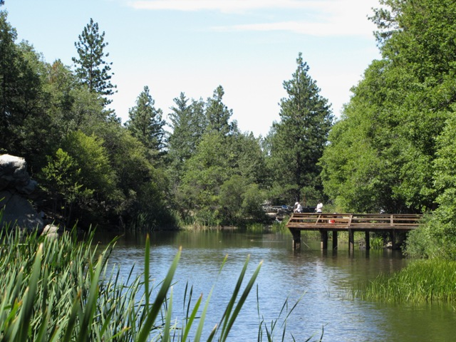 This photograph shows Lake Fulmor and its fishing pier located on the San Jacinto Ranger District