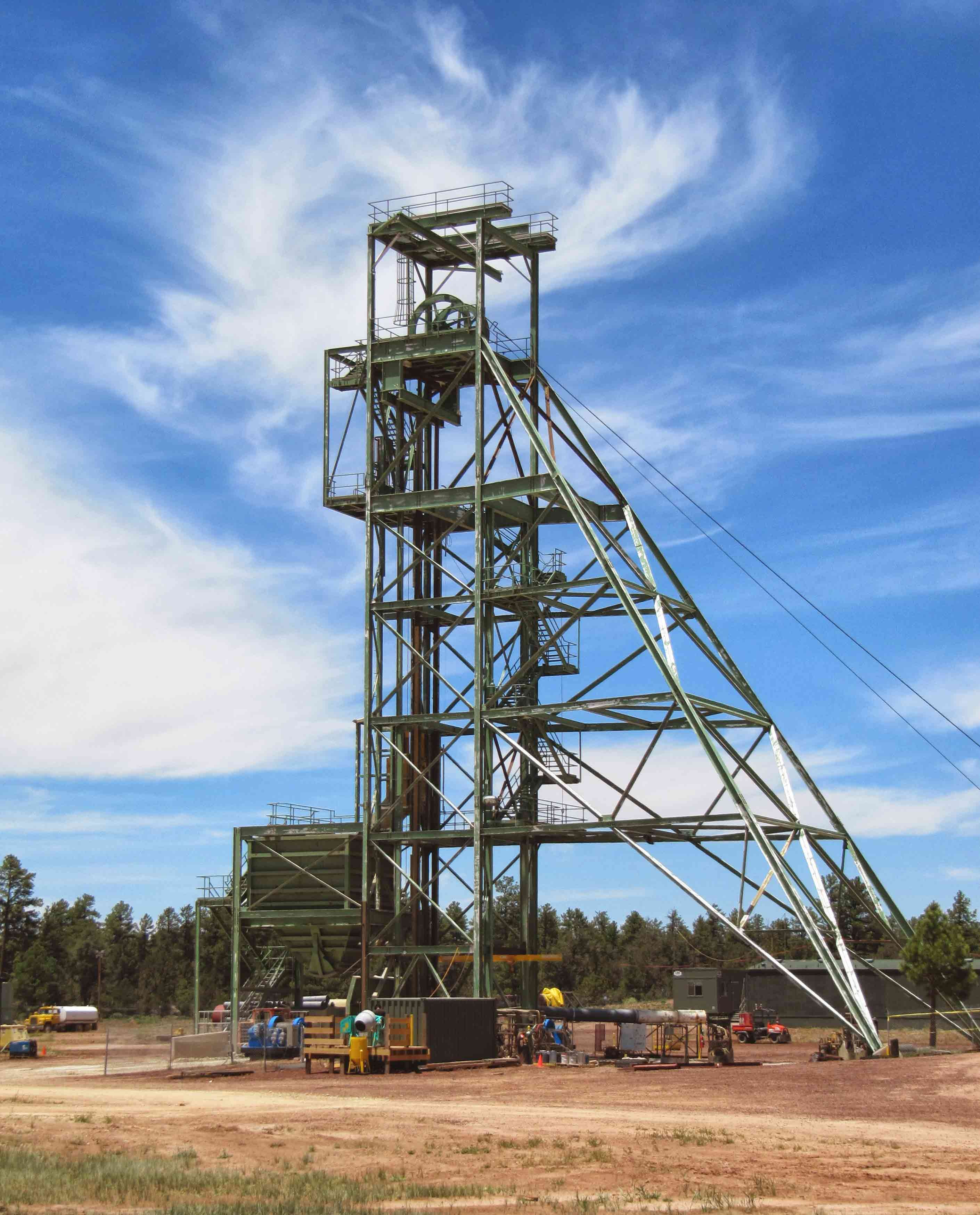 The head-frame of Canyon Uranium Mine on the Tusayan Ranger District