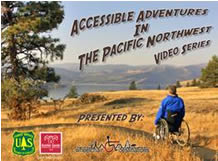 logo for accessible adventures videos with a man in a wheelchair heading for the mountains