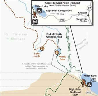 North Umpqua Trail, Maidu Lake Segment Vicinity Map.