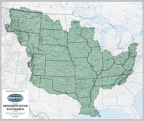 Graphic map of the Mississippi river Watershed.