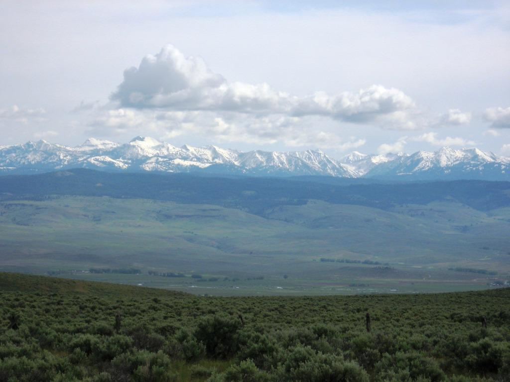 Image of Wallowa Mountains from the Hells Canyon Scenic Byway near Virtue Flat; lush sagebrush