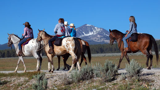 Horseback riders heading out on day one of the Chief Joseph Trail Ride.