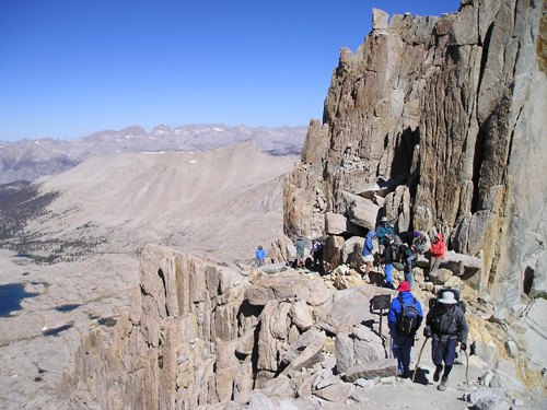 Hikers near Trail Crest on the Mt. Whitney Trail
