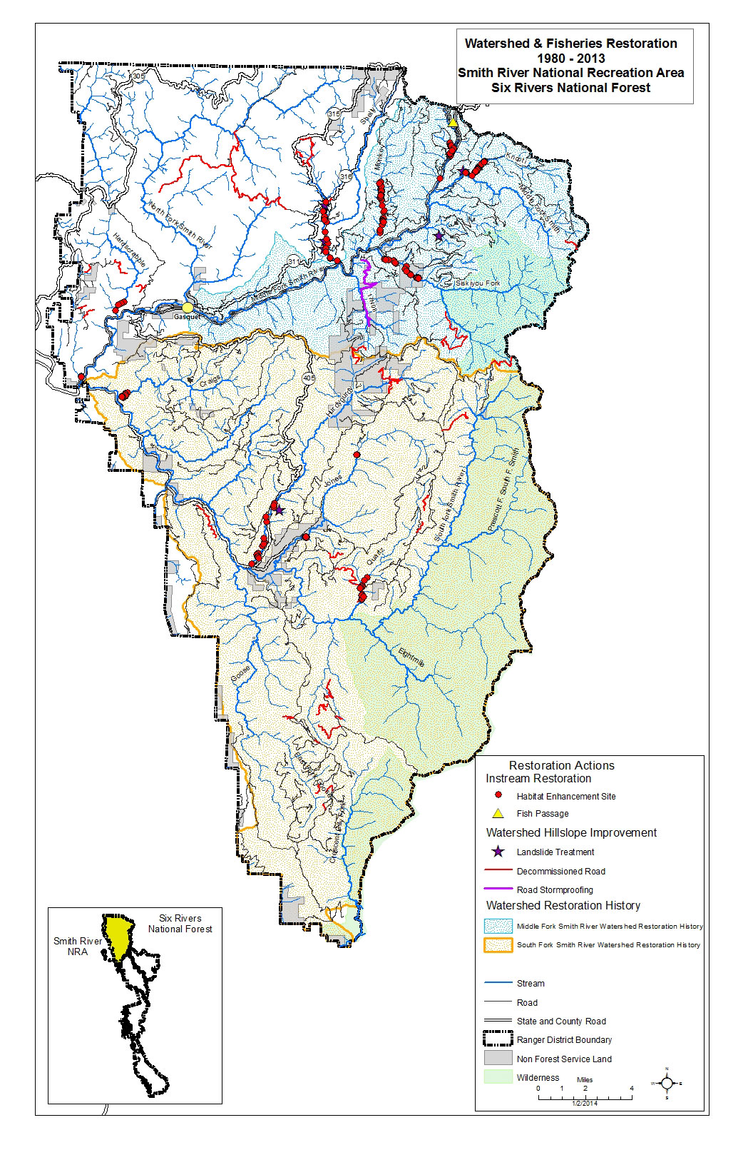 Six Rivers National Forest Home Ka24de Tps Wiring Diagram Watershed Fisheries Restoration 1980 2013