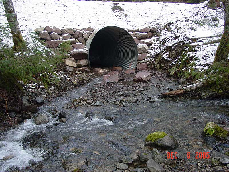 Photo 4. Post-treatment of culvert correcting fish barrier on Ti Creek.