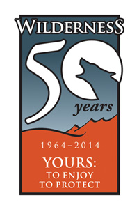 Wilderness 50th logo wolf silouette