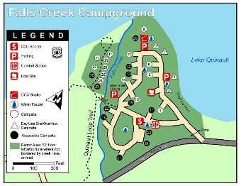 Falls Creek Campground map.