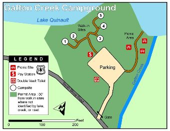 Gatton Creek Campground map.