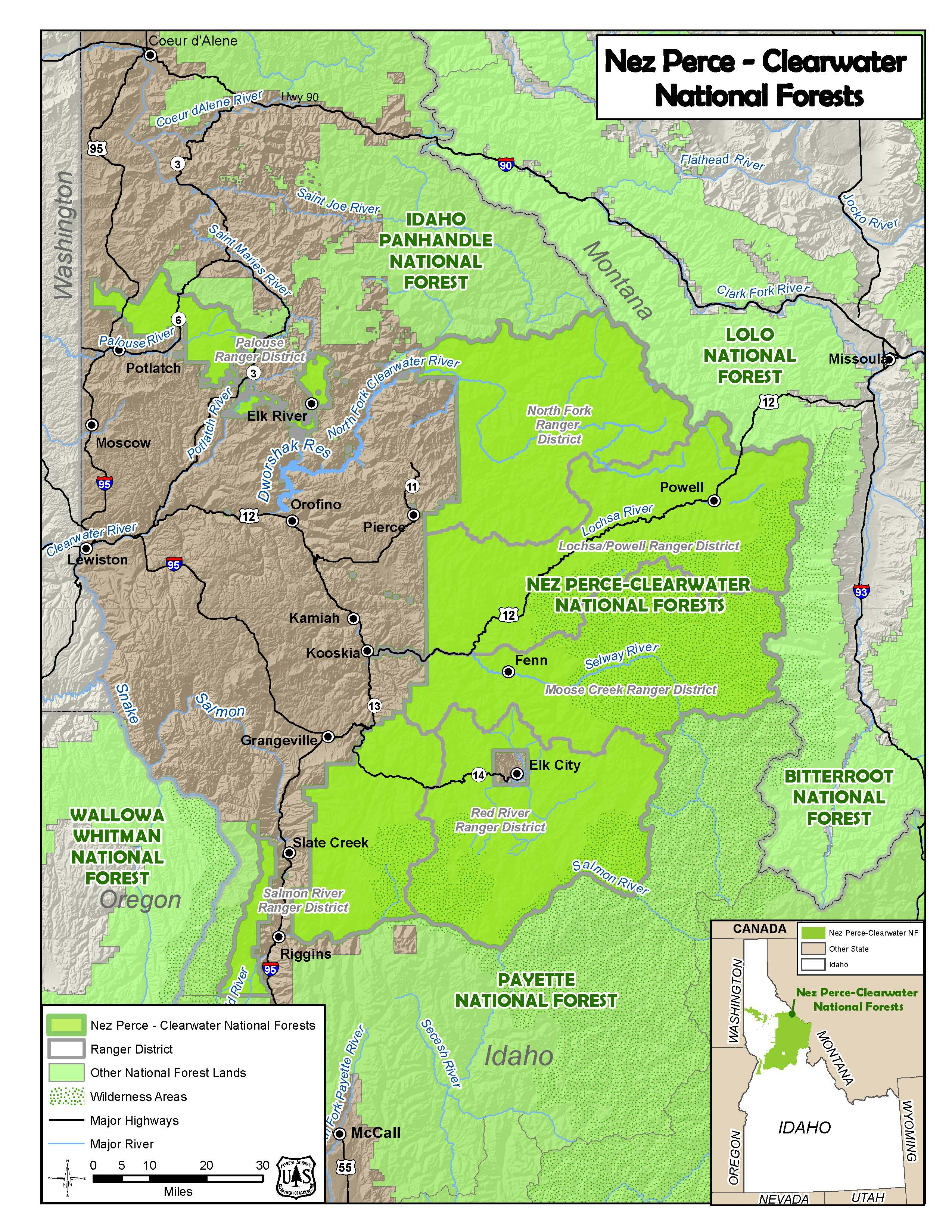 Colored Map shows the combined Nez Perce and Clearwater Forests and Districts