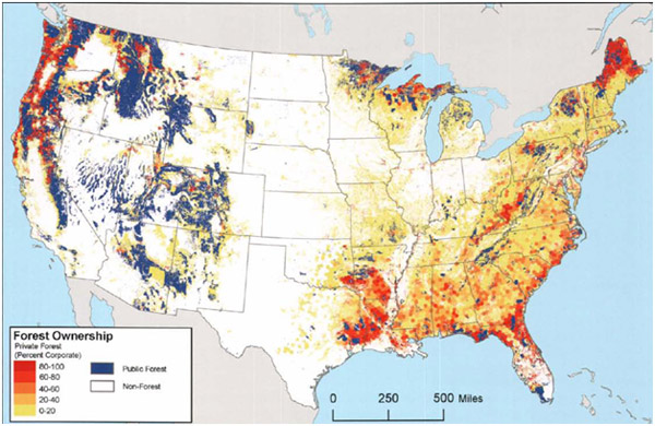 Figure 1: Location of public and private forestland in the United States.