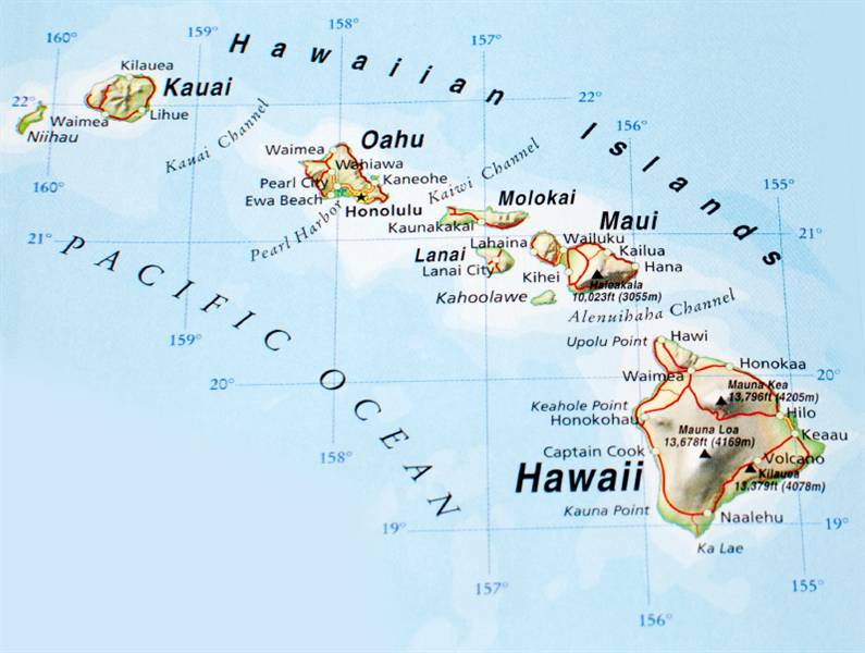 This is a graphic of Printable Map of Hawaiian Islands inside vintage