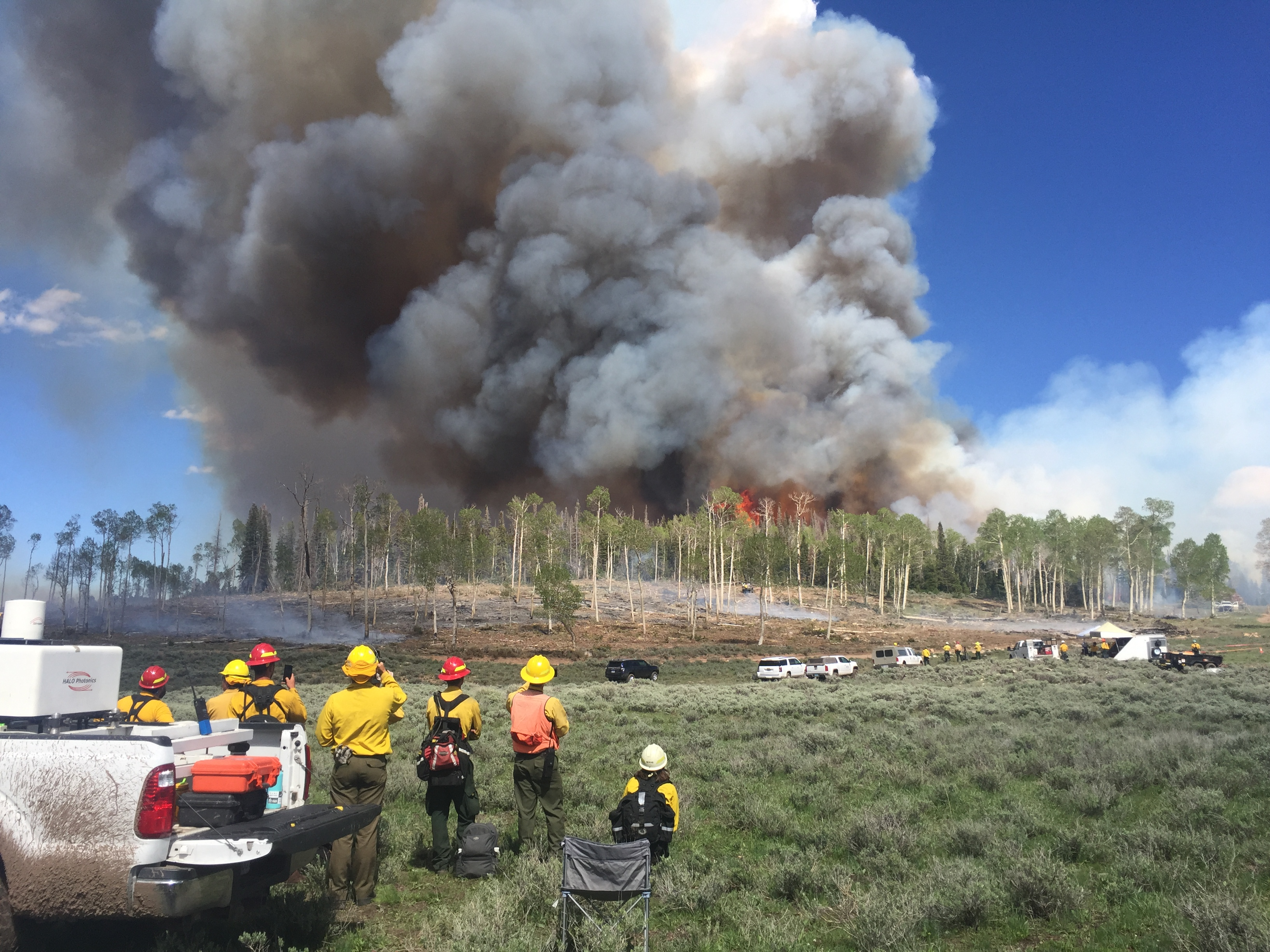 Prescribed fire during Fire and Smoke Model Evaluation Experiment (FASMEE) by Jessie Thoreson.