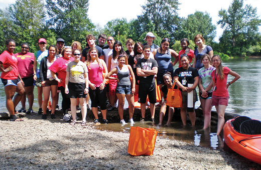 City Youth Institute prepare for a kayaking trip on the Willamette River , Oregon.