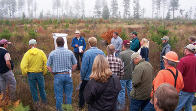A field tour with partners to share findings from a long-term soil productivity study, Matlock, Washington. Tim Harrington