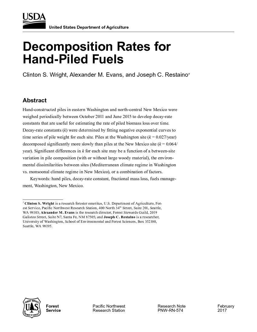 Decomposition rates for hand-piled fuels