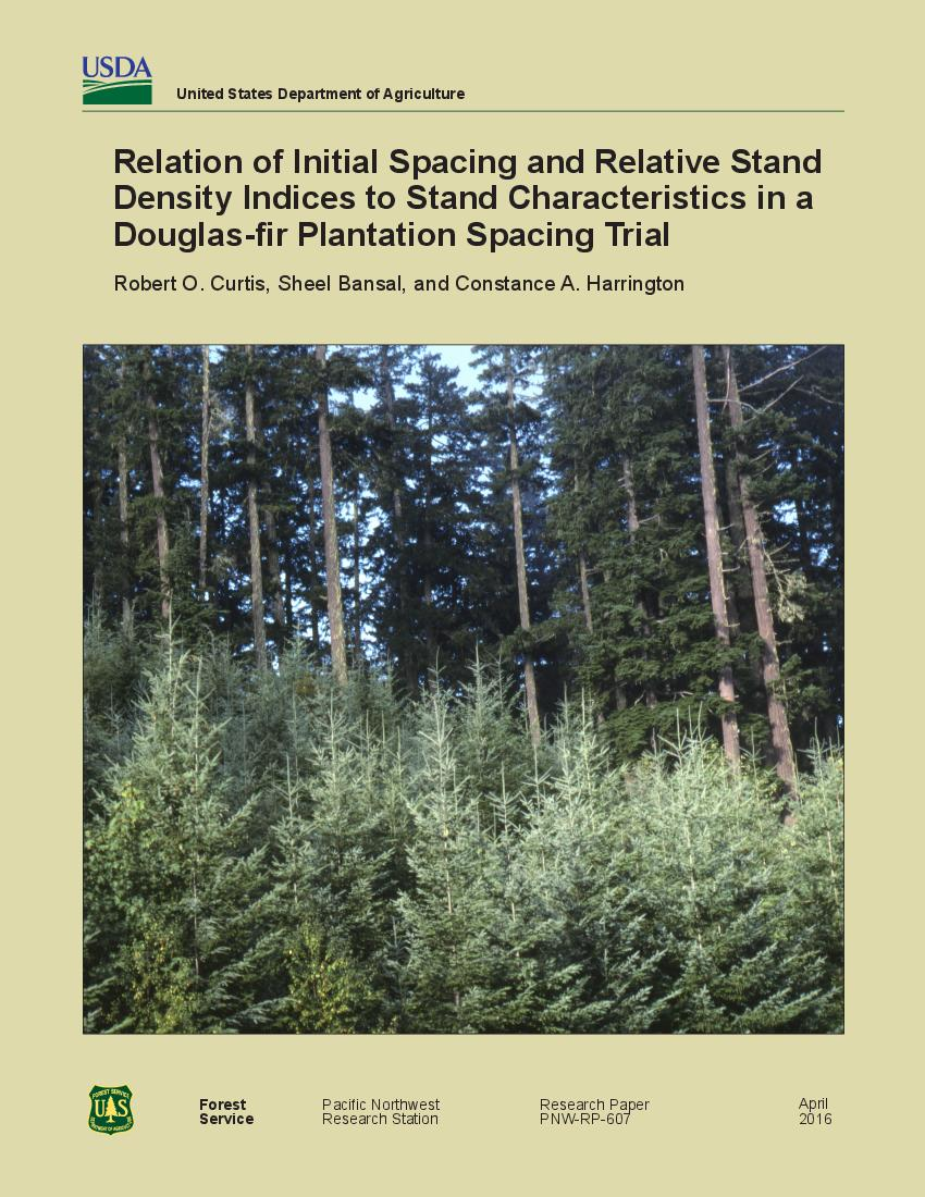 Relation of initial spacing and relative stand density indices to stand characteristics in a Douglas-fir plantation spacing trial
