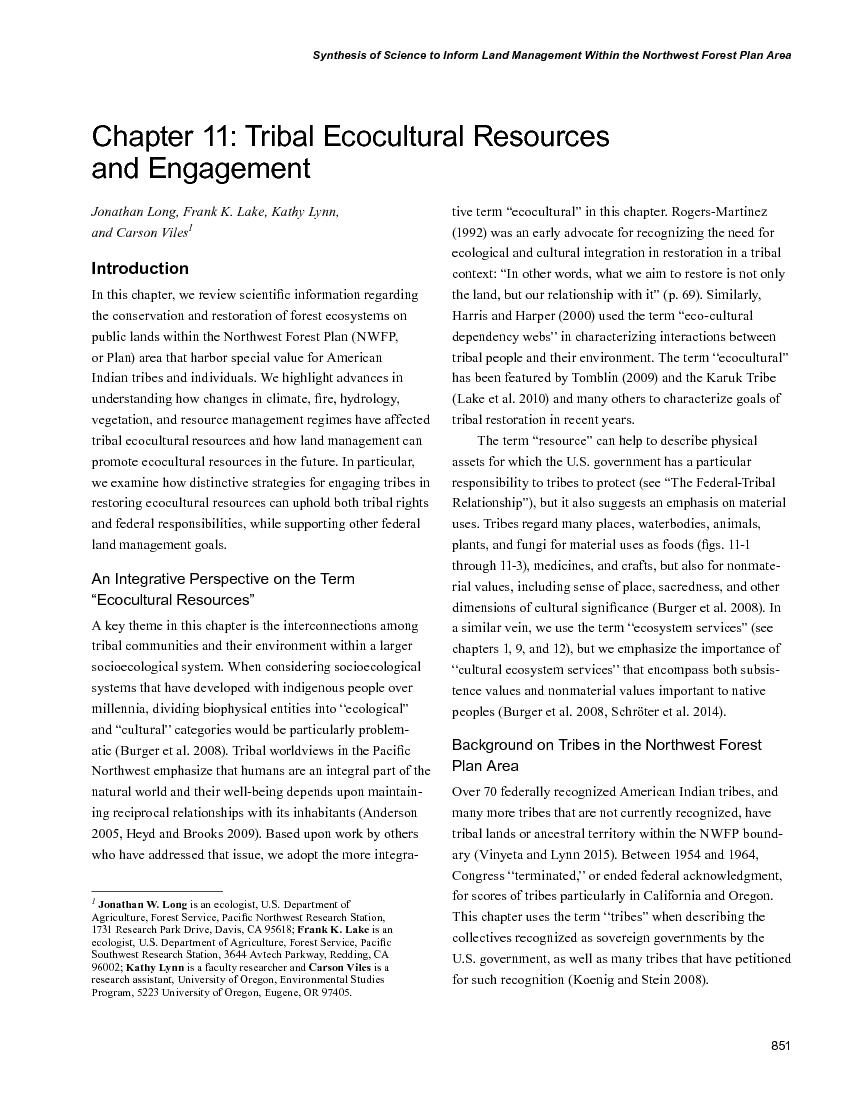 Chapter 11: Tribal ecocultural resources and engagement