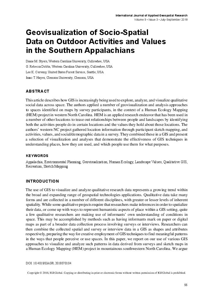 Geovisualization of socio-spatial data on outdoor activities and values in the Southern Appalachians