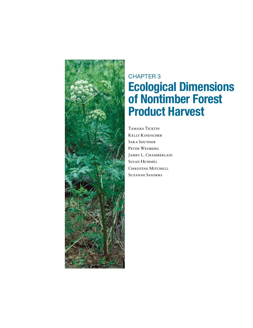 Chapter 3 - Ecological dimensions of nontimber forest product harvest