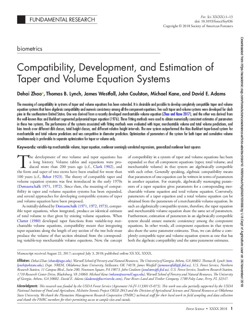 Compatibility, development, and estimation of taper and volume equation systems