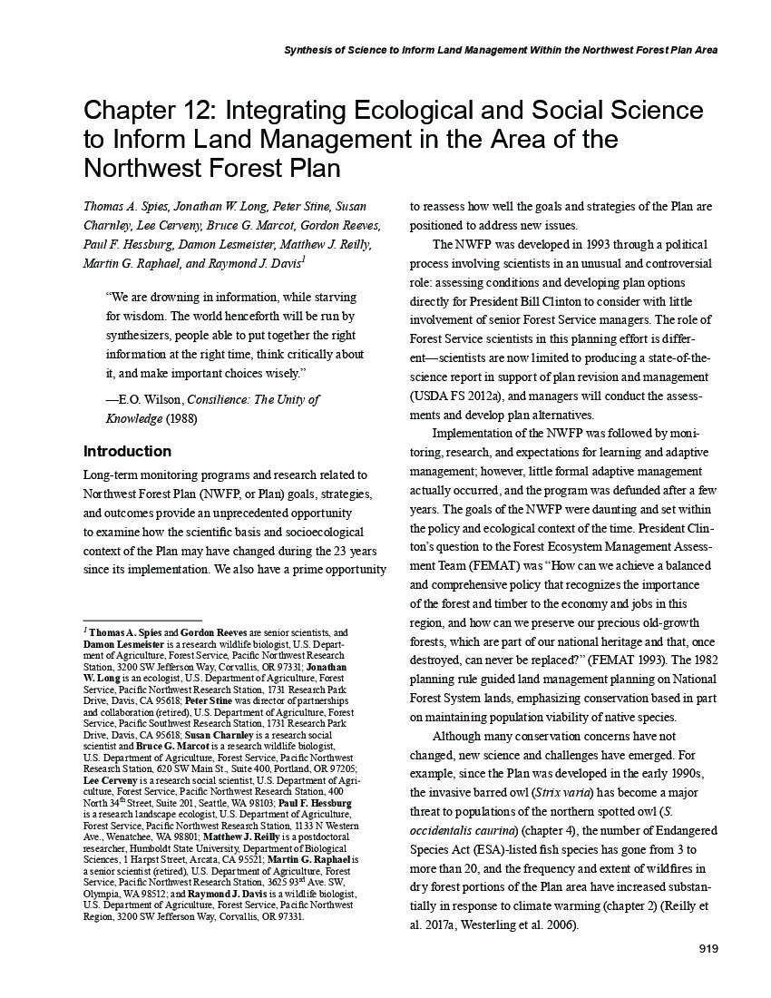 Chapter 12: Integrating ecological and social science to inform land management in the area of the northwest forest plan