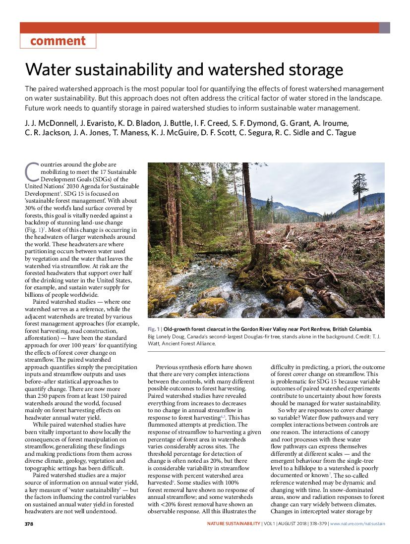 Water sustainability and watershed storage