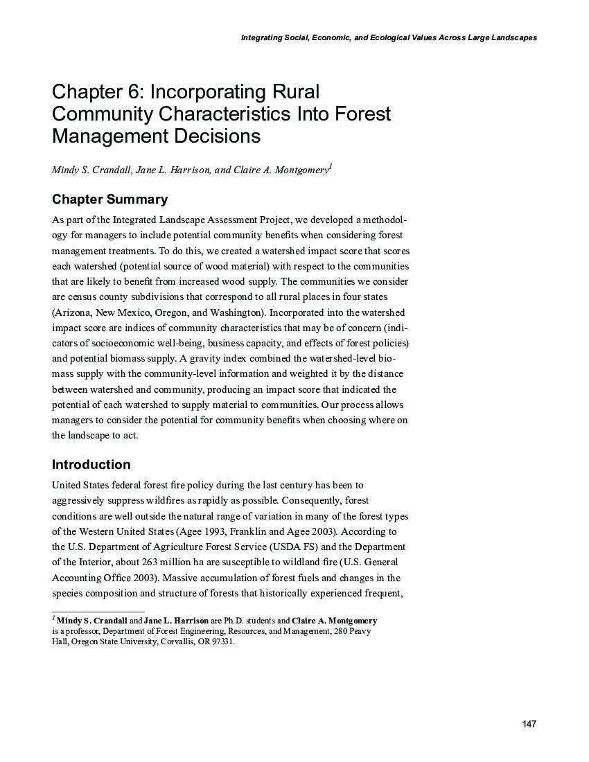 Chapter 6: Incorporating rural community characteristics into forest