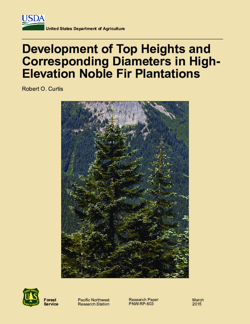Development of top heights and corresponding diameters in high-elevation noble fir plantations
