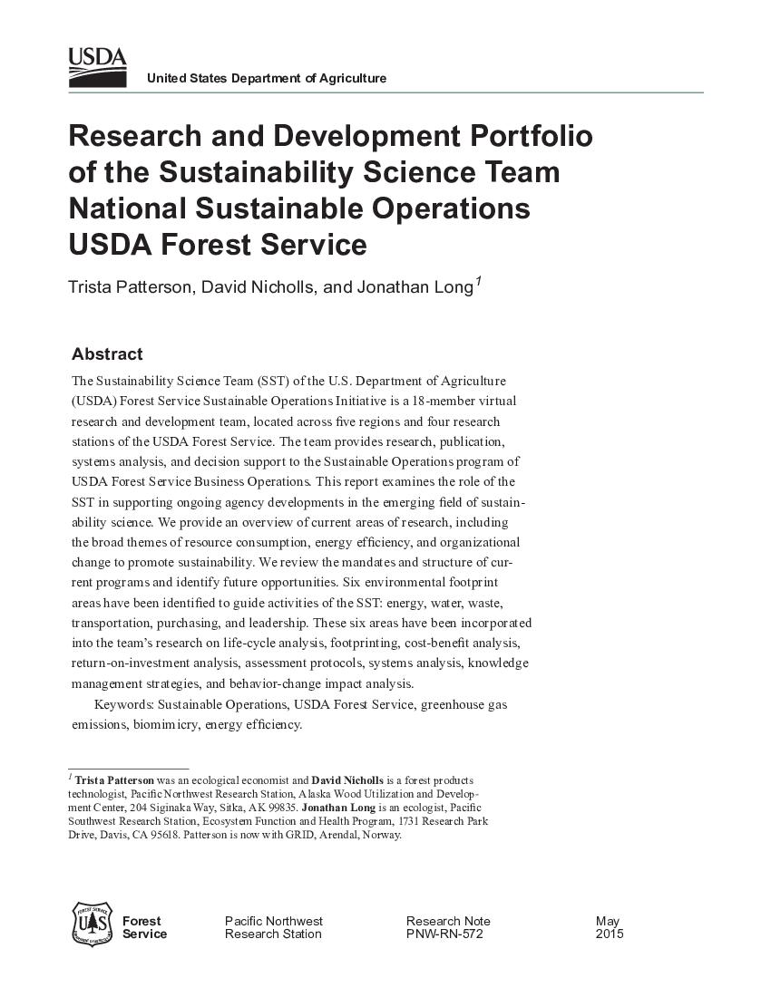 Research and development portfolio of the sustainability science team national sustainable operations USDA Forest Service