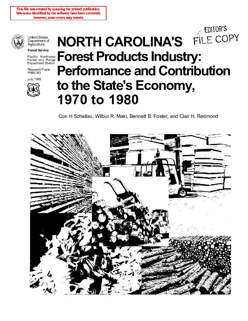North Carolina's <span style='background: #bae894;'>Forest Products</span> industry: performance and contribution to the state's economy, 1970 to 1980.