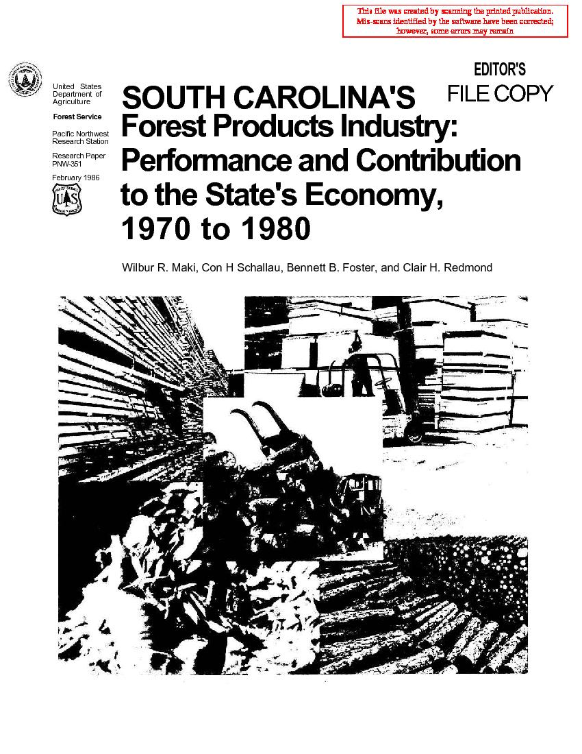 South Carolina's <span style='background: #bae894;'>Forest Products</span> industry: performance and contribution to the state's economy, 1970 to 1980.