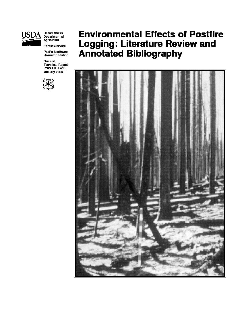 environmental effects of postfire logging literature review and annotated bibliography