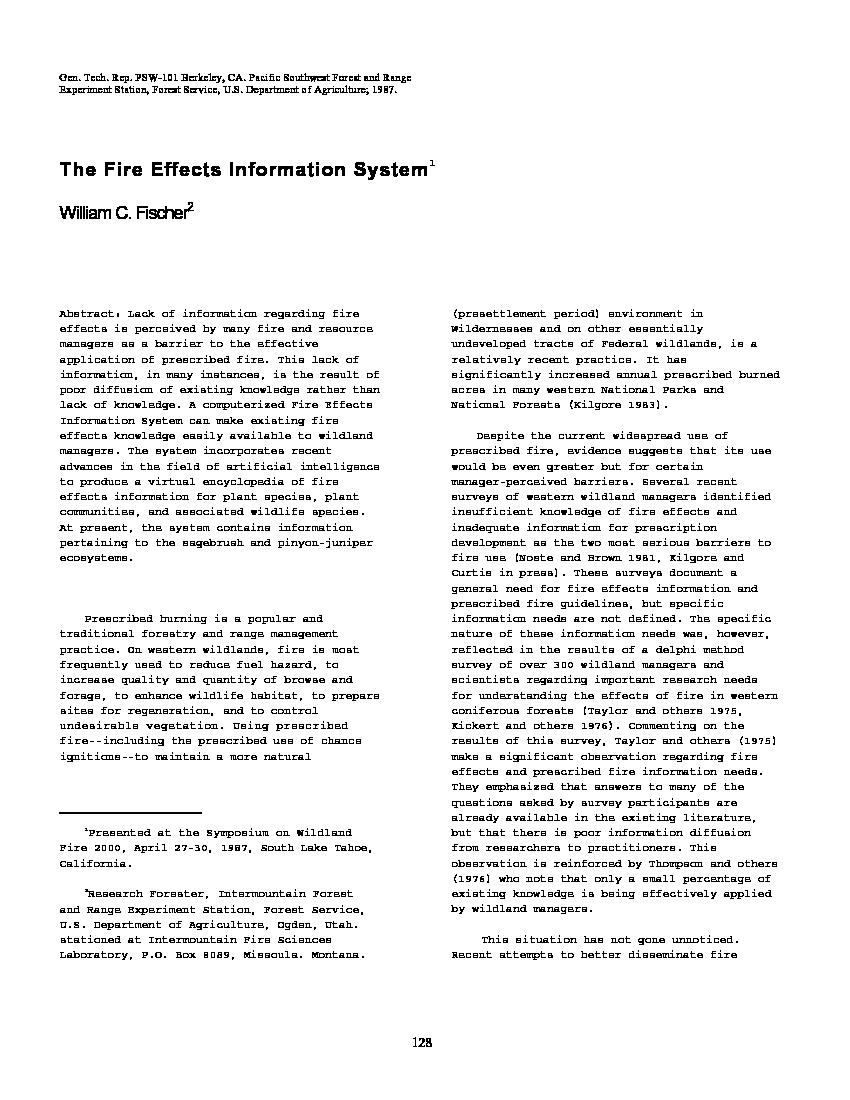 The Fire Effects Information System | Pacific Northwest