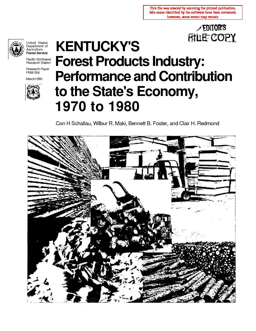 Kentucky's <span style='background: #bae894;'>Forest Products</span> industry: performance and contribution to the state's economy, 1970 to 1980.