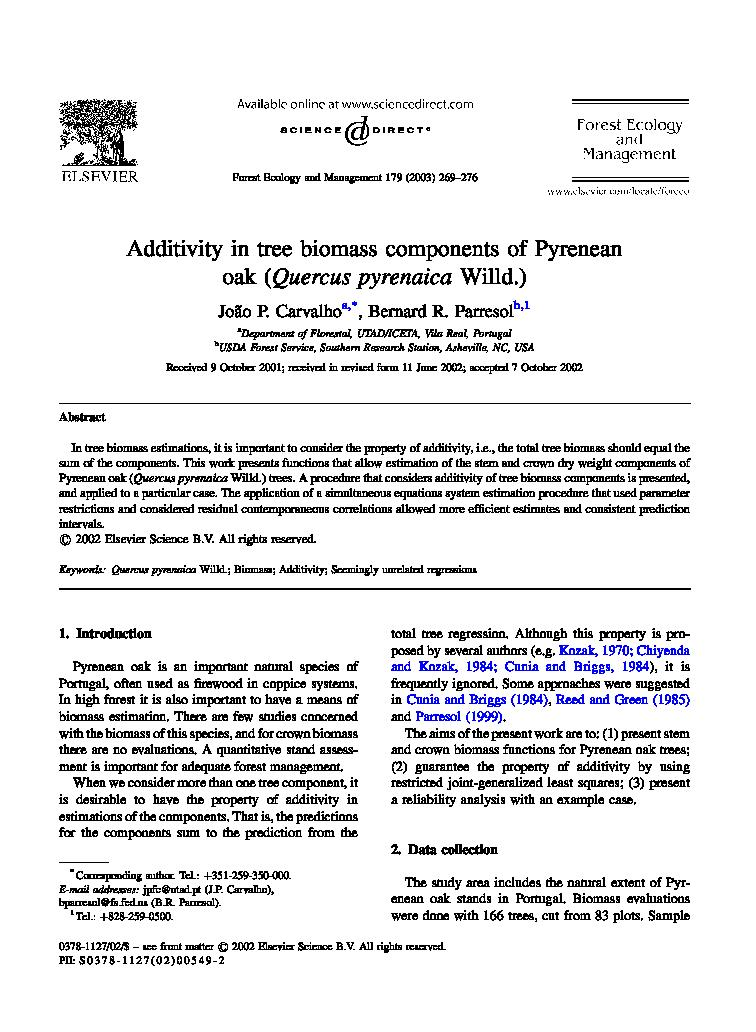 Additivity in tree biomass components of Pyrenean oak (<i>Quercus