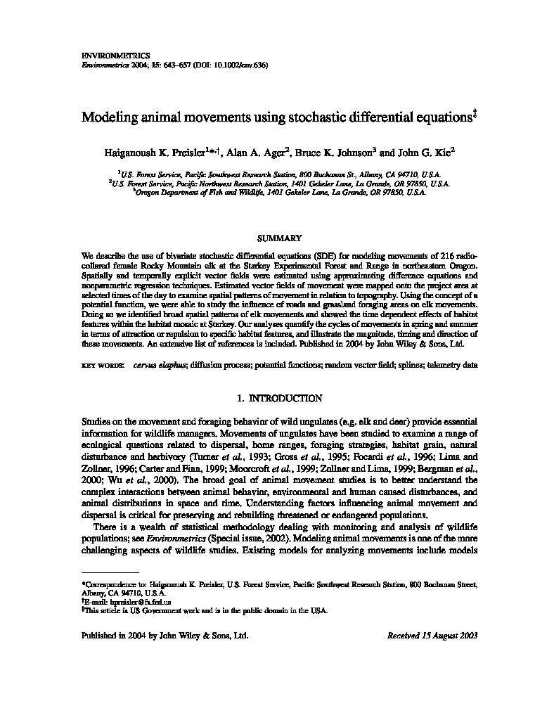 Modeling animal movements using stochastic differential
