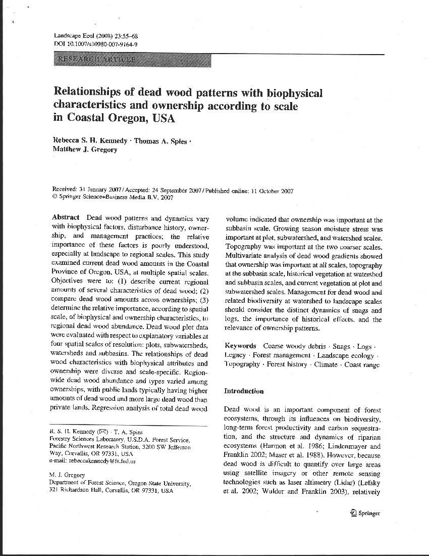Relationships Of Dead Wood Patterns With Biophysical