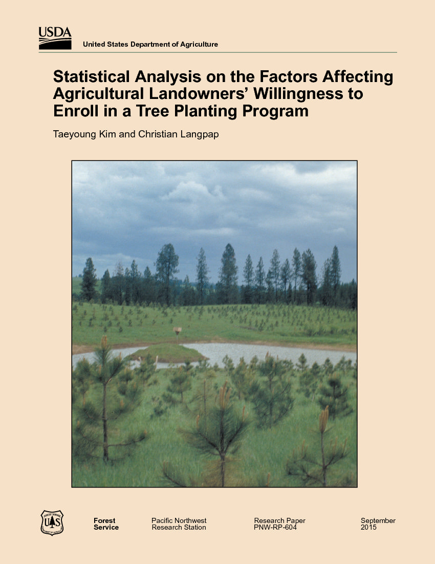 Statistical analysis on the factors affecting agricultural landowners' willingness to enroll in a tree planting program