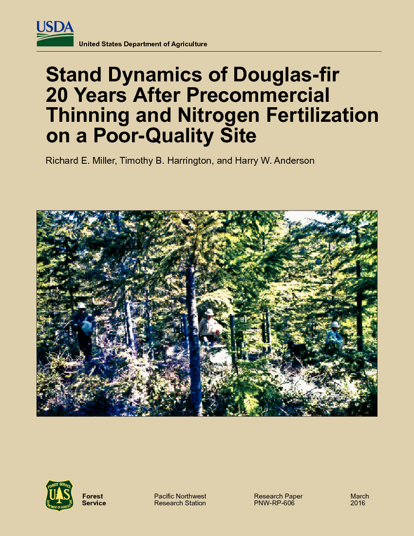 Stand dynamics of Douglas-fir 20 years after precommercial thinning and nitrogen fertilization on a poor-quality site