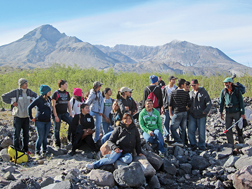 High school students learn about ecology on Mount St. Helens. Photo by Ray Yurkewycz, Mount St. Helens Institute.