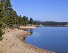 Drought has lowered water levels in the reservoir at Boca Dam, on the Truckee River in Nevada. Photo by Bureau of Reclamation.