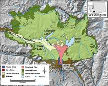 Map shows the disturbance zones created by the May 18, 1980, eruption of Mount St. Helens.