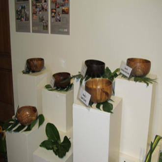 Koa bowls on display at a 2014 wood show in Honolulu, Hawaii.