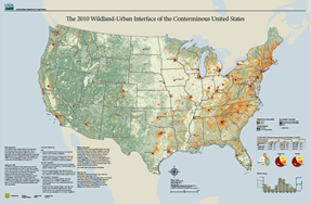 Map of the conterminous United States showing housing density in both intermix and interface communities