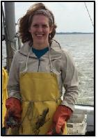 Dr. Anne Timm with oysters on the Chesapeake Bay
