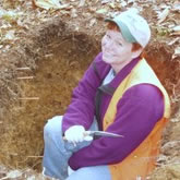 Research Soil Scientist Mary Beth Adams sampling soil.